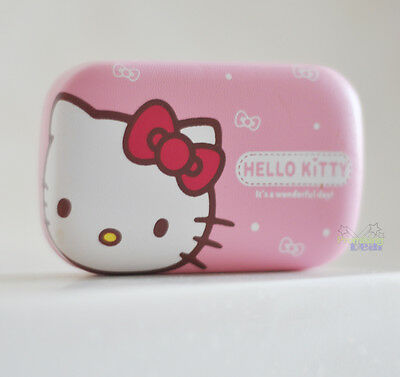 Super Cute Pink Striated Hello Kitty Pocket Eye Contacts Lens Box Case Holder