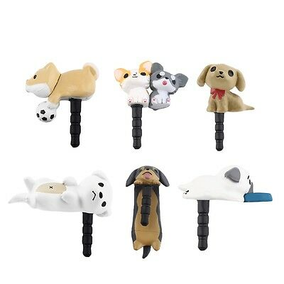Cute Puppy Dog 3.5mm Anti Dust Earphone Jack Plug Stopper Cap For Phone FT