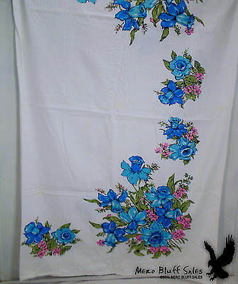 Vintage Mid Century Tablecloth Flowers Daffodils Blue Pink