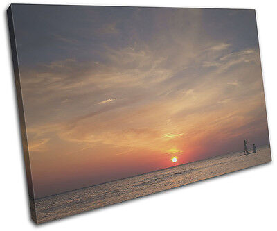 Sunset Ocean Beach Sea Landscapes SINGLE CANVAS WALL ART Picture Print