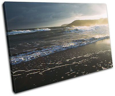 Beach Sunset Waves Landscapes SINGLE CANVAS WALL ART Picture Print