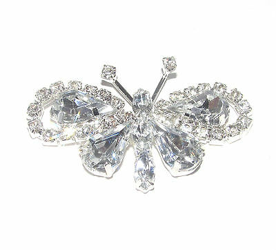 10 x FLAT BACK CRYSTAL BUTTERFLY DIAMANTE EMBELLISHMENT SPARKLY RHINESTONES