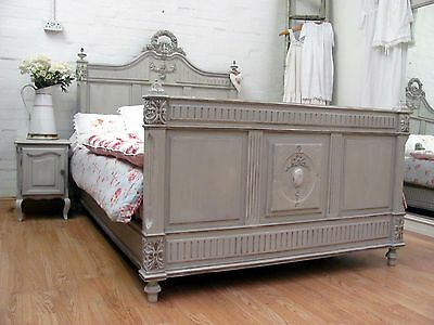 Fabulous Antique French Painted Oak Chateau Double Bed - C1900