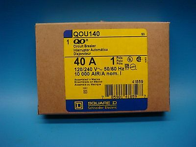 (1) SQUARE D QOU140 40A SINGLE POLE 120/240V 50/60 Hz 10K AIR CIRCUIT BREAKER