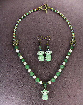 GREEN MONKEY NECKLACE EARRINGS SET Aventurine Good Luck Gambling Fortune Wealth