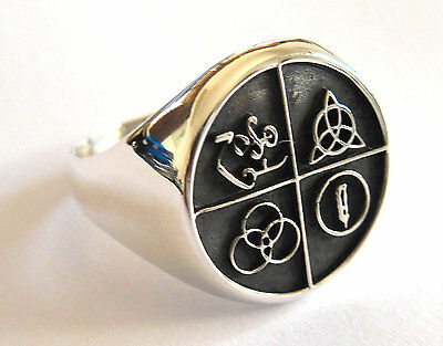 Sterling Silver 925 Led Zeppelin Band Four Symbol Ring