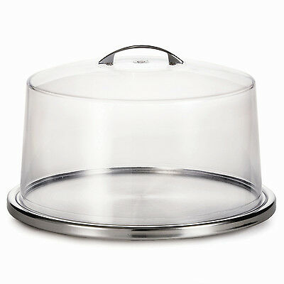 Cake Stand S/S 40mm(h) with Clear Cake Cover w/Chrome Handle 300x185 mm-SET