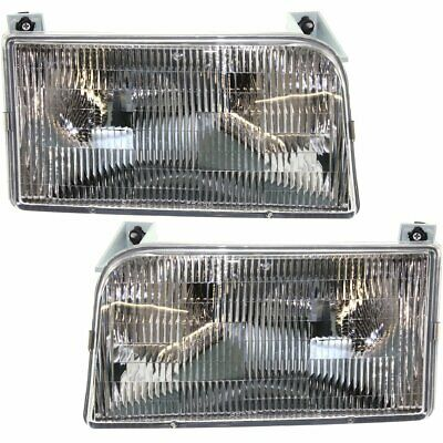 Halogen Headlight Set For 1992-1996 Ford F-250 Left & Right w/ Bulbs Pair