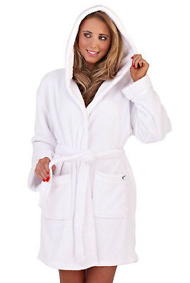 Loungeable Womens Coral Fleece Dressing Gown Ladies Soft Nightwear White Robe