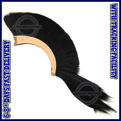 BLACK PLUME BLACK CREST BRUSH Natural Horse Hair For CORINTHIAN HELMET ARMOUR