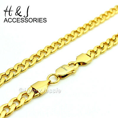 "18-40""MEN Stainless Steel 7mm Gold Classic Cuban Curb Link Chain Necklace*N117"