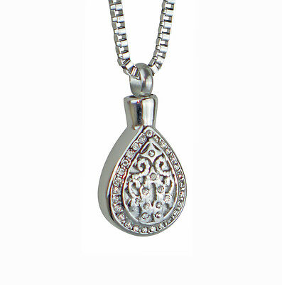 Crystal Teardrop Urn Pendant Necklace - Cremation Jewellery Ashes Memorial