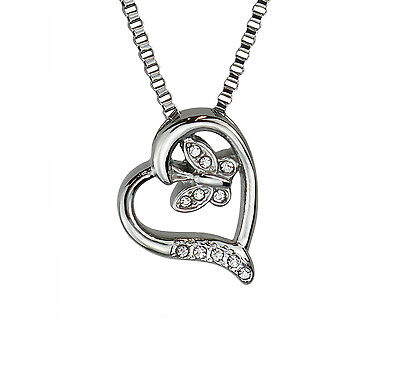 Butterfly Heart Crystal Urn Pendant Necklace Cremation Jewellery Ashes Memorial