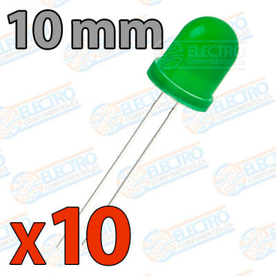 10x LED 10mm VERDE DIFUSO 20mA diodo diffuse diode green