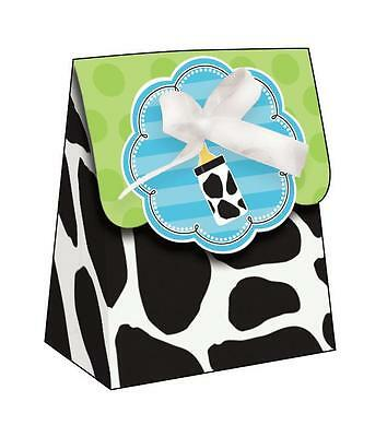 CLEARANCE Baby Shower - Baby Cow Print Boy Favour Bags with Ribbon x 12