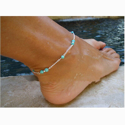 Stylish Turquoise Beaded Infinity Link Chain Ankle Bracelet Foot Jewelry Anklet