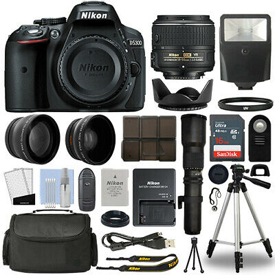 Nikon D5300 DSLR Camera + 4 Lens 18-55mm VR II + 500mm + 16GB Telephoto Kit
