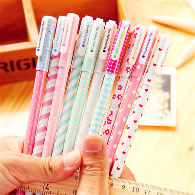 Hot 10pcs/lot Colorful 0.38mm Gel Pen Cute Pens Stationery Accessories