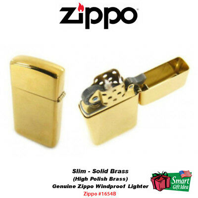 Zippo Solid Brass High Polish Lighter, Slim, USA Genuine Windproof #1654B