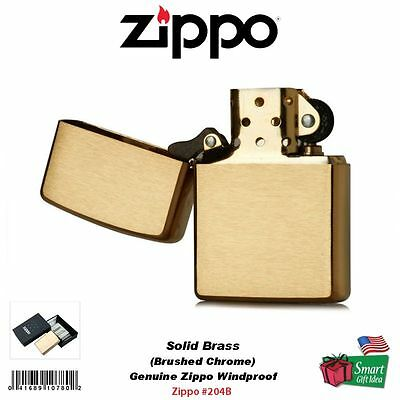 Zippo Lighter, Solid Brass, Brushed Finish, Classic, Genuine USA Windproof #204B