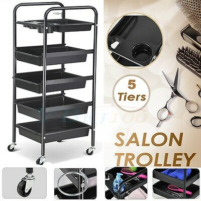 Salon Hairdresser Beauty Spa Coloring Hair Trolley Rolling Storage Cart 5 Tier