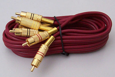 4 x 3RCA Plug to 3RCA Plug AUDIO VIDEO LEAD / Cable 1.5m GOLD PLATED