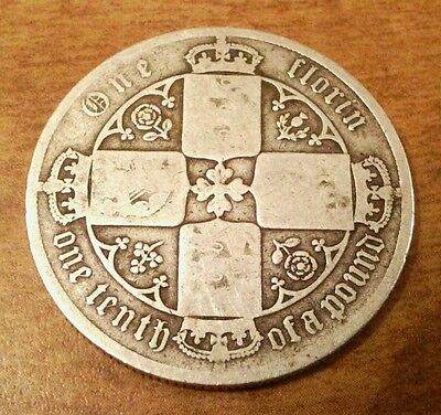 Great Britain 1883? Silver Gothic Florin,  Victoria , Sterling