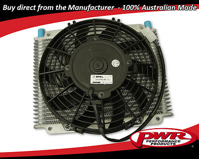 "PWR HD TRANSMISSION OIL COOLER 280x255x19mm Dash -6 AN with Spal 11"" fan PWO1223"