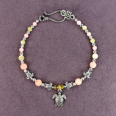 SEA TURTLE TOTEM BRACELET Charm Silver Pink Cream Seashells Marine Ocean Animal