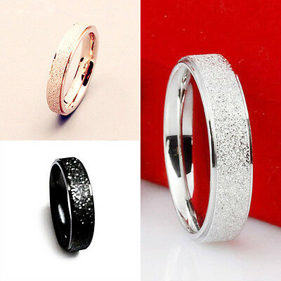 Men Women Wedding Band Ring Rose Gold Silver Frosted 361L Stainless Steel Sz5-12