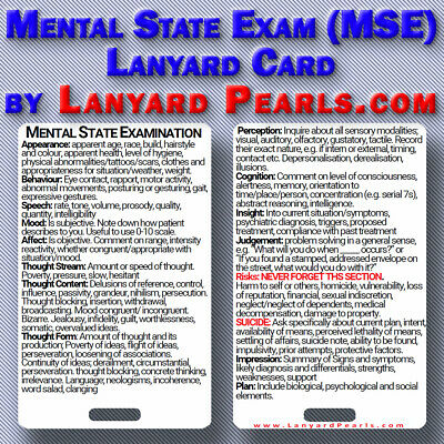Medical Nursing Psychiatry PVC Lanyard Reference Card - Mental State Exam MSE