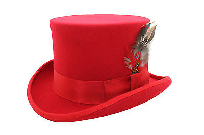 Unisex Red Wool Top Felt Hat With Feather Matching Ribbon Band And Satin Lining