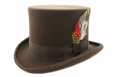 Brown Wool Top Felt Hat With Feather Matching Ribbon Band And Satin Lining