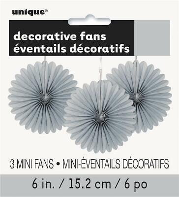 "Silver 6"" Hanging Paper Fan Party Decorations x 3"