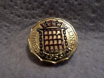 Vintage Gold Plated Enamelled Threepence Coin. Many Years Available. Great Gift