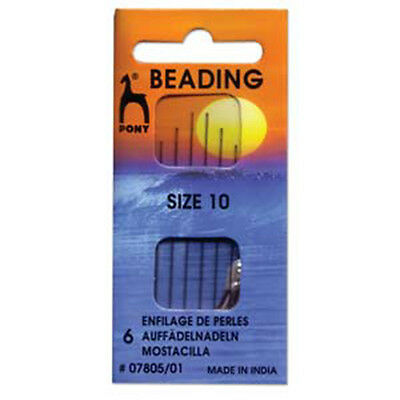 Pony Beading Needles Pack of 6 Sizes 10 Jewellery Making