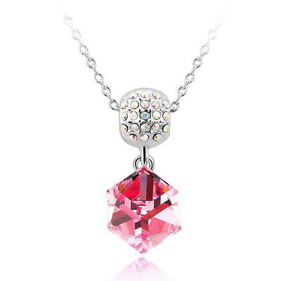 White Gold Plated Necklace & Pendant With Genuine Swarovski Crystals Elements