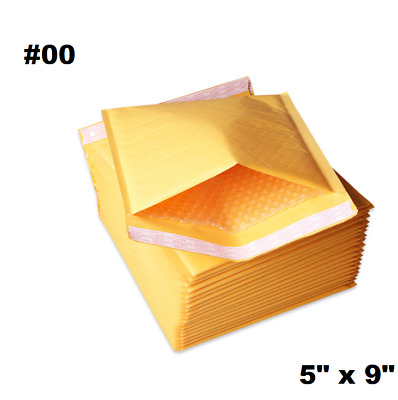 "50PCS #00 5x10"" Golden Kraft Bubble Padded Shipping Envelope Mailers Bag"