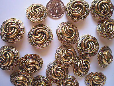 20 ANTIQUE GOLD BUTTONS SIZE 25mm