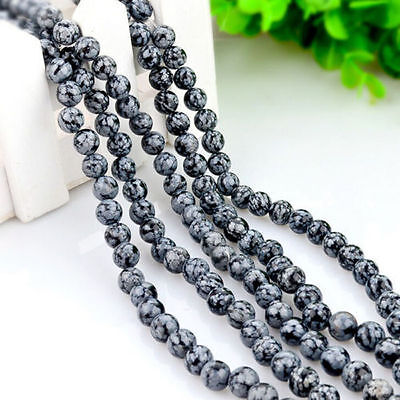 Wholesale 4-10mm Natural Snowflake Obsidian Gemstone Round Loose Beads Lot 10-40