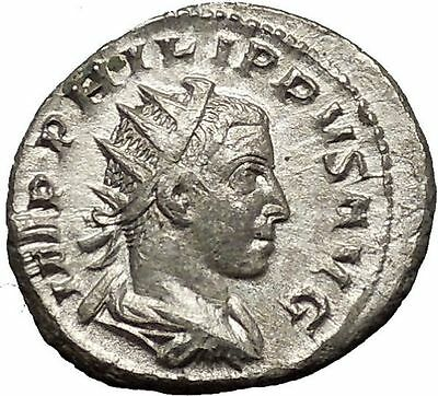 Philip II as Augustus 247AD  Silver Authentic Ancient Roman Coin PAX i53210