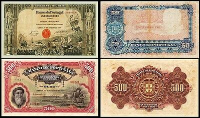 !copy! Portugal 500 Escudos 1922 + 50000 Reis 1905 Banknotes !not Real!