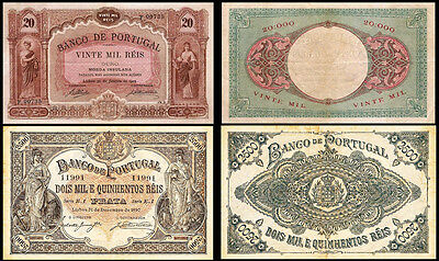 !copy! Portugal 2500 Reis 1897 + 20 Reis 1905 Banknotes !not Real!