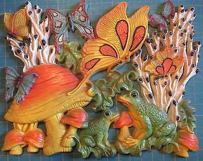 Vtg 70s Large 3D Homco Wall Decor Plaque Butterflies Mushrooms Frogs Pond Scene
