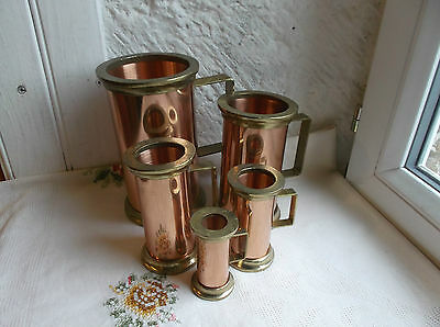 French vintage  set of 5 copper brass measurement cups un used / old stock paper
