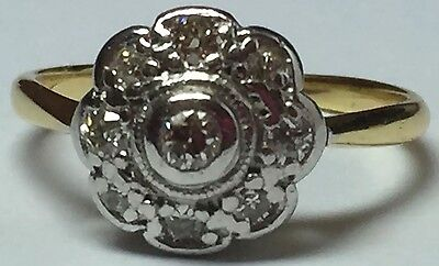 ** Sale** Beautiful Edwardian 18Ct Gold And Platinum Diamond Daisy Cluster Ring