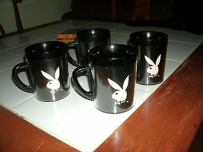 Vintage Playboy Thermo Serv Coffee Cups Set Of 4 Usa Rare Mid 60's