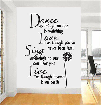 Dance Love Sing Live Flower bedroom Quote Wall Stickers Art Removable Decals DIY