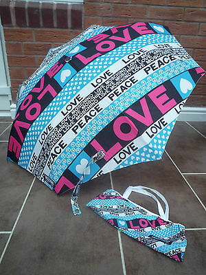 Moschino Cheap & Chic Peace & Love Automatic Compact Umbrella With Storage Bag