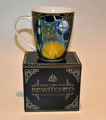 """Lisa Parker Gothic Wicca Cat """" Bewitched """" Bone China Mug Cup"""